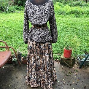 Tan/black floral pleated maxi skirt + belt, 8